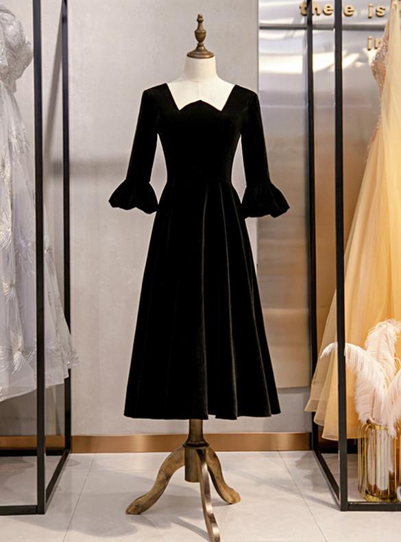 Black Velvet Short Sleeve Square Short Prom Dress