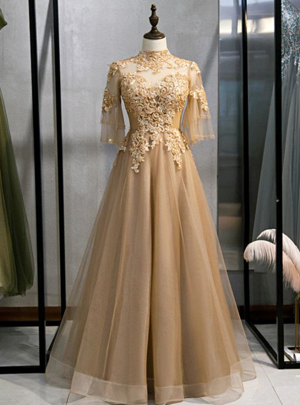 Champagne Tulle Short Sleeve Appliques Beading Prom Dress