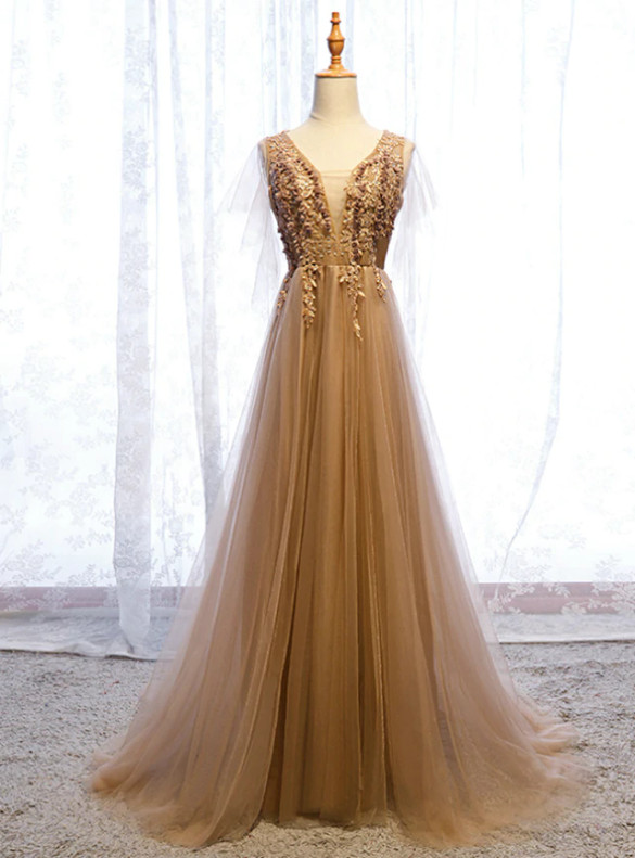Chamapgne Tulle Appliques Beading Prom Dress