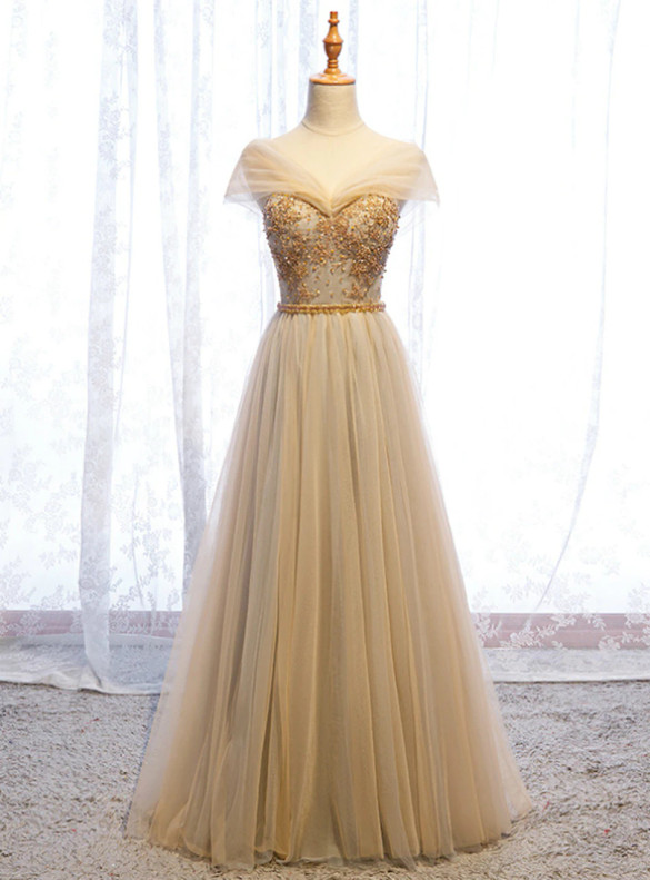 Champagne Tulle Off the Shoulder Beading Prom Dress