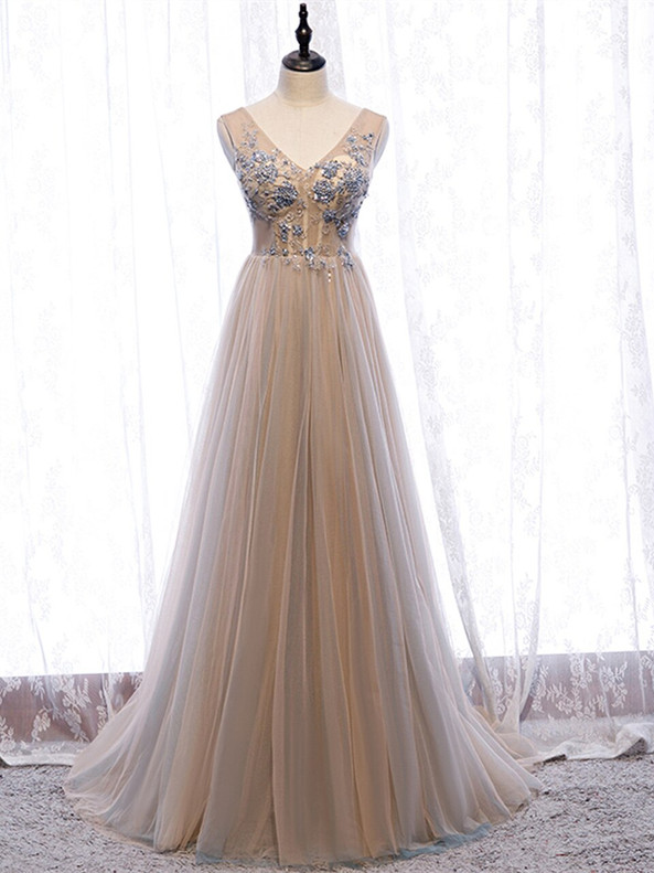Sexy Champagne Tulle Beading V-neck Prom Dress