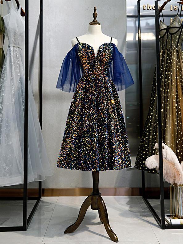 Blue Sequins Spaghetti Straps Prom Dress