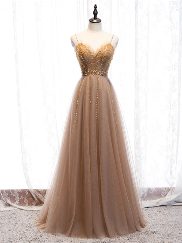 Tulle Beading Spaghetti Straps Prom Dress