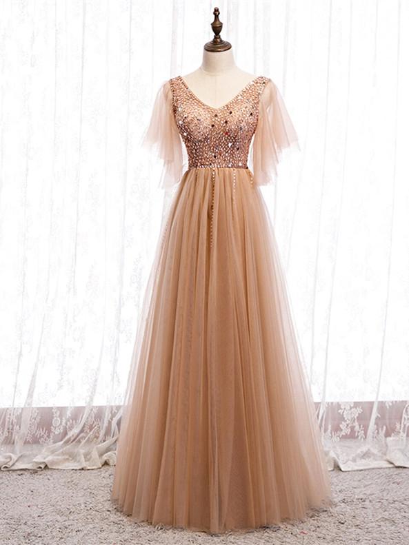 Champagne Tulle V-neck Beading Long Prom Dress