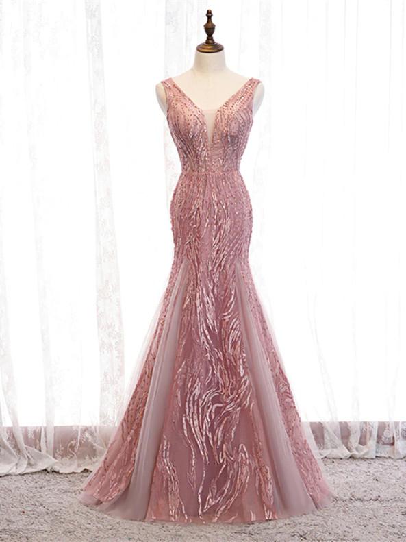 Pink Mermaid Tulle V-neck Beading Prom Dress