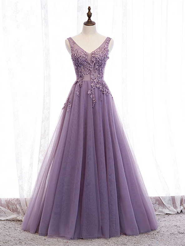 Purple Tulle V-neck Appliques Beading Prom Dress
