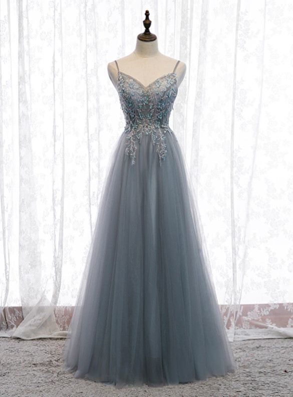 Gray Blue Tulle Beading Spaghetti Straps Prom Dress