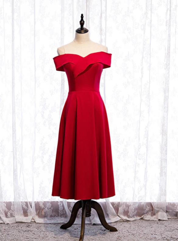 A-line Burgundy Satin Short Prom Dress