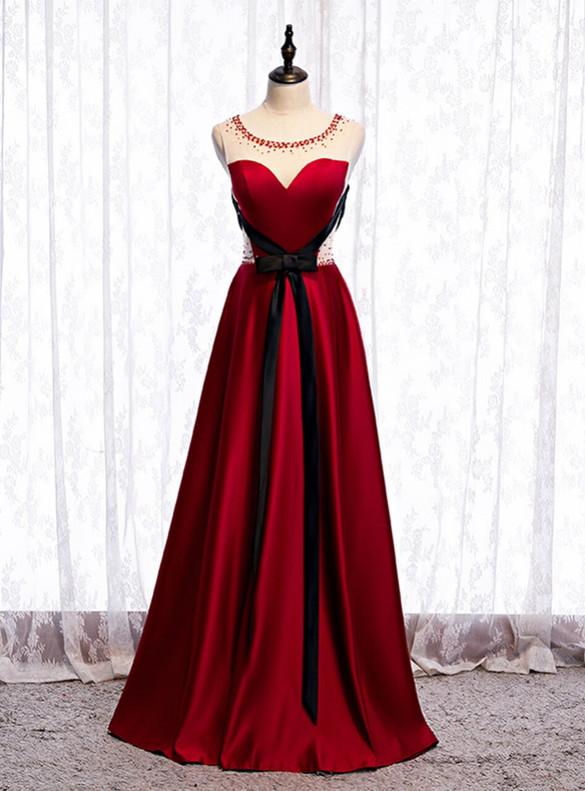 Burgundy Satin Beading Backless Prom Dress