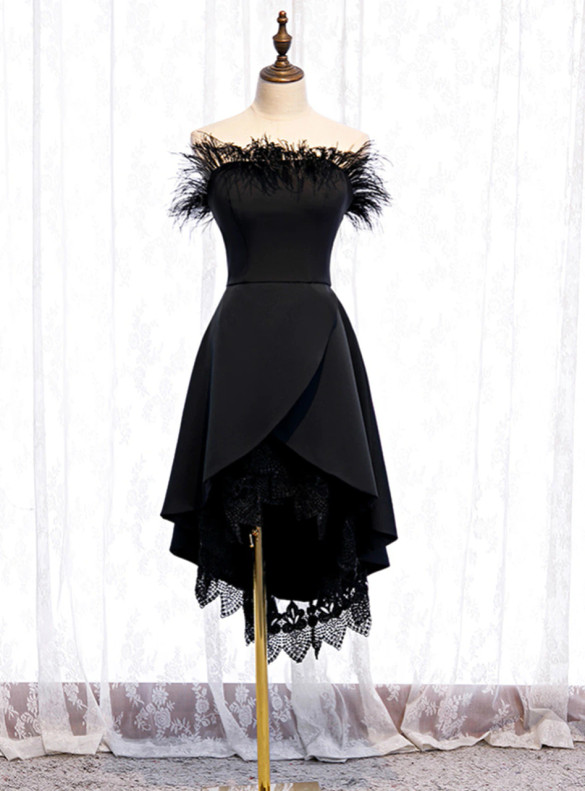 Black Hi Lo Feather Strapless Prom Dress