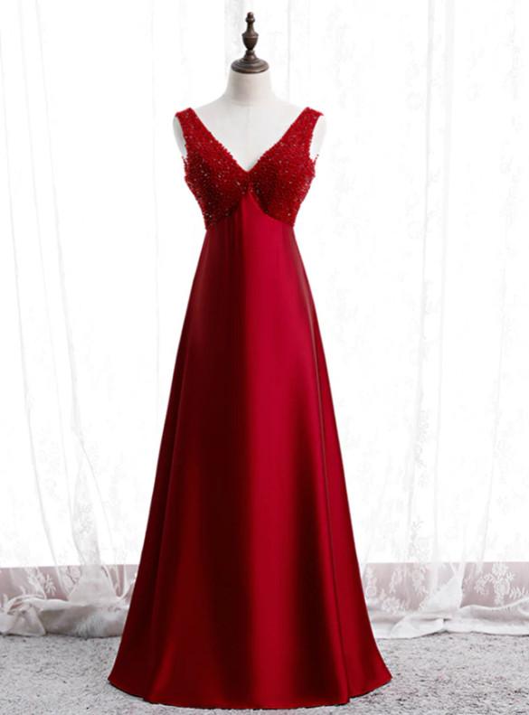 Burgundy Satin High Waist Beading V-neck Prom Dress