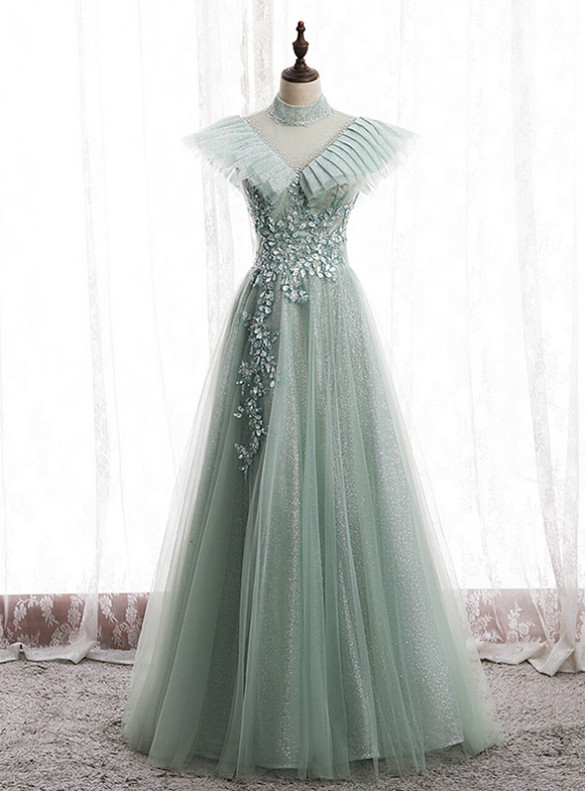 Green Tulle Sequins Pleats Beading Prom Dress