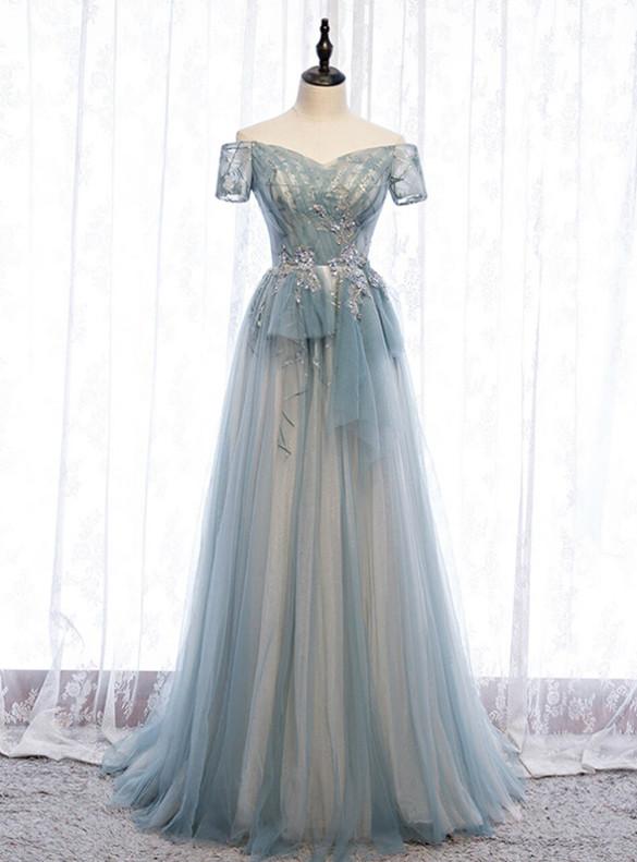 Blue Gray Tulle Short Sleeve Pleats Prom Dress