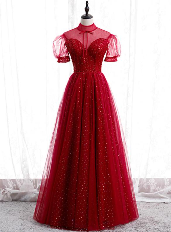 Burgundy Tulle Sequins Short Sleeve Beading Prom Dress