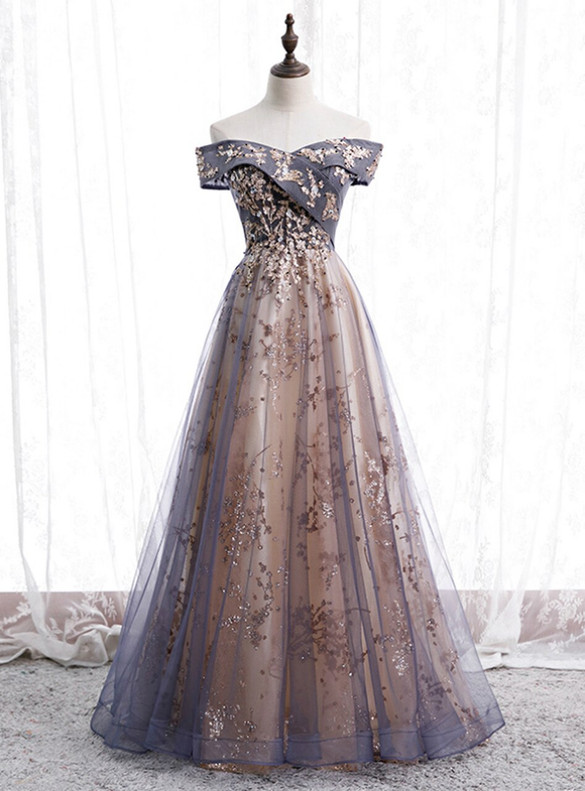 Blue Gray Tulle Sequins Beading Prom Dress