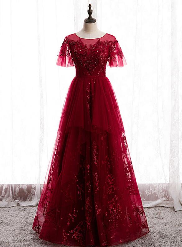 Burgundy Tulle Sequins Beading Prom Dress
