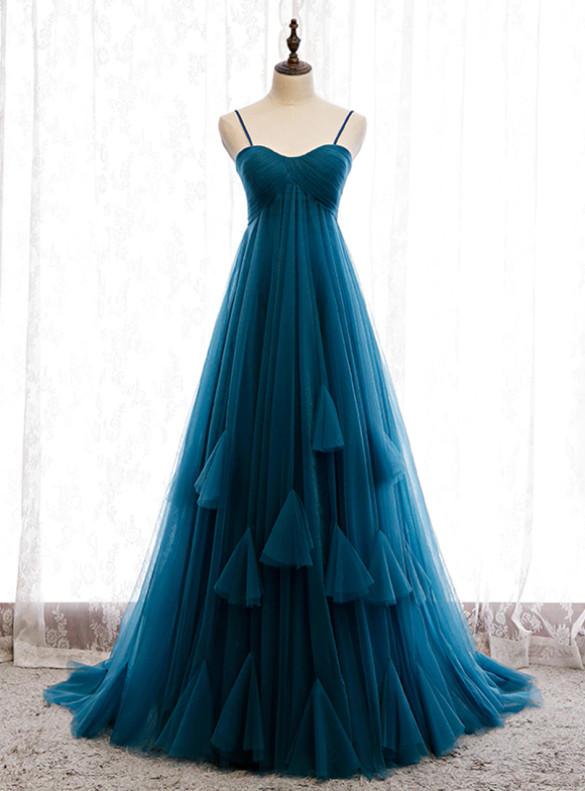 Blue Tulle High Waist Pleats Prom Dress