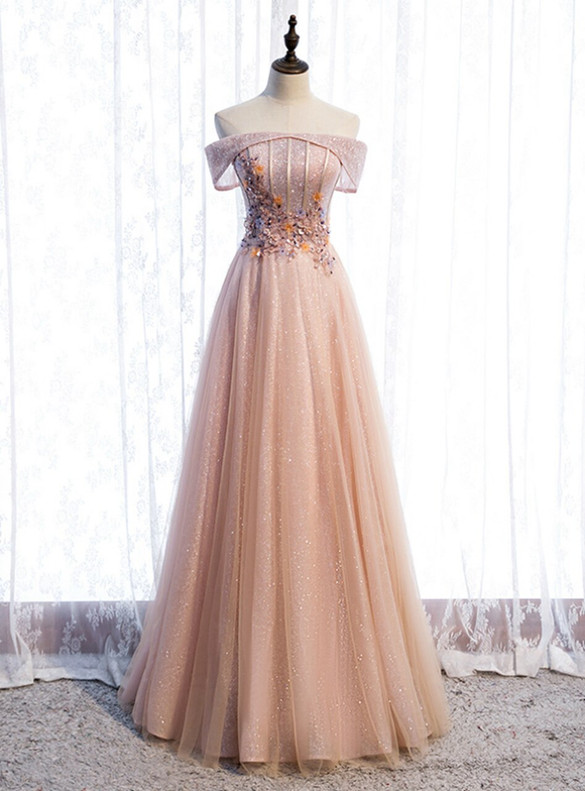 Champagne Pink Tulle Sequins Appliques Beading Prom Dress