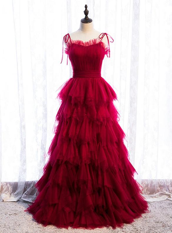 Burgundy Tulle Pleats Spagehtti Straps Prom Dress