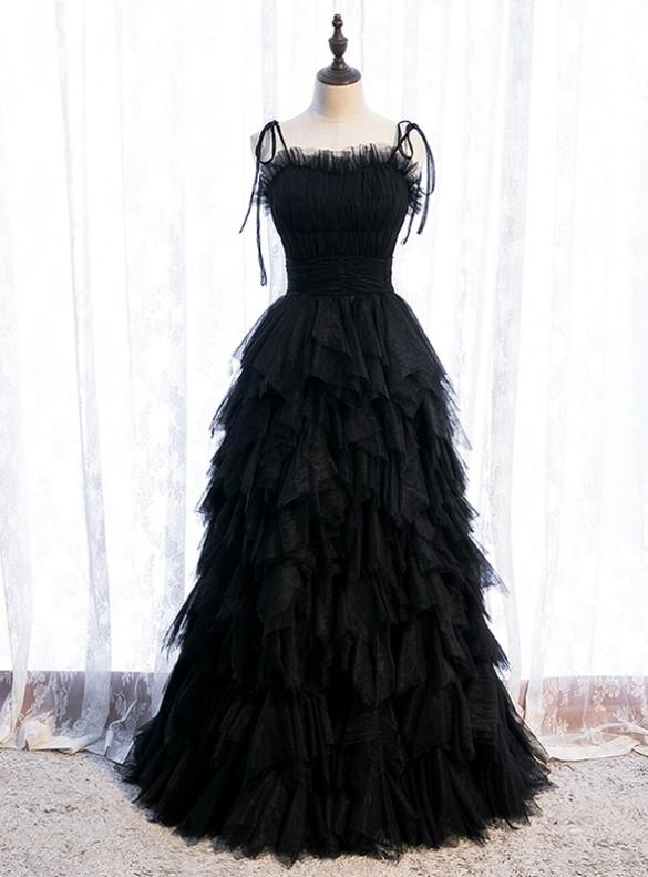 Black Tulle Pleats Spagehtti Straps Prom Dress