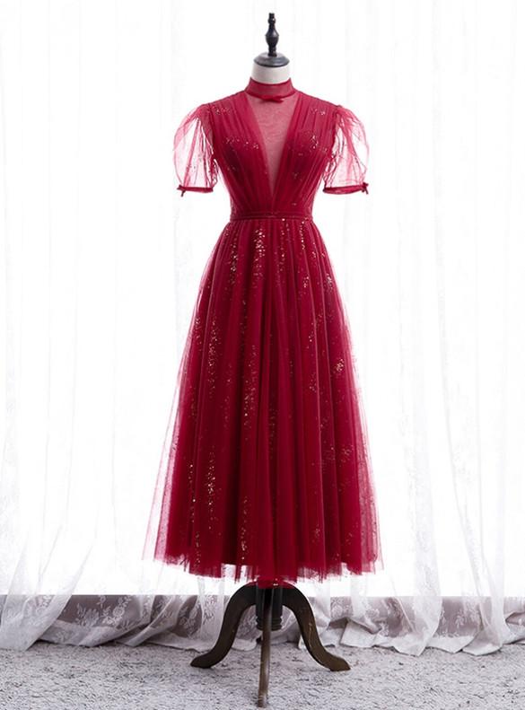 Simple Tulle Short Sleeve Pleats Prom Dress