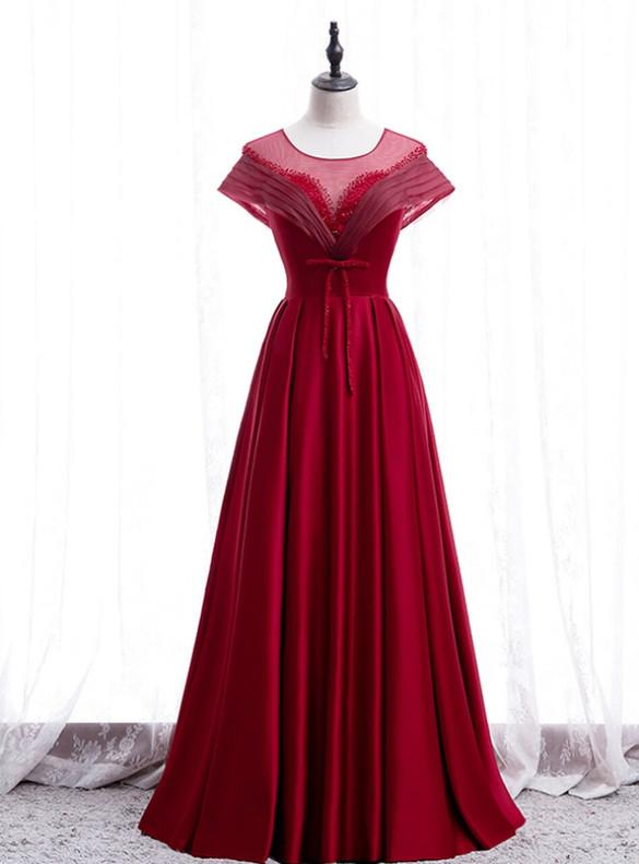 Burgundy Satin Beading Open Back Prom Dress