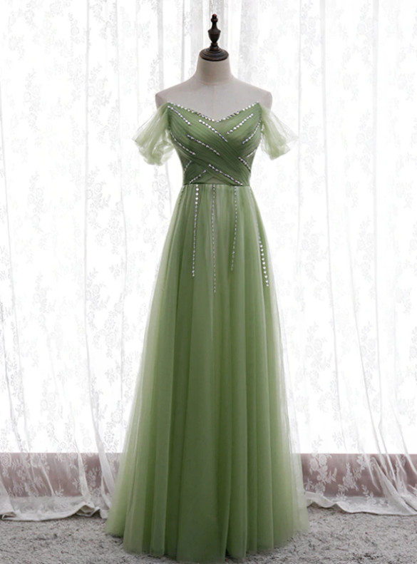 Green Tulle Pleats Beading Sequins Prom Dress