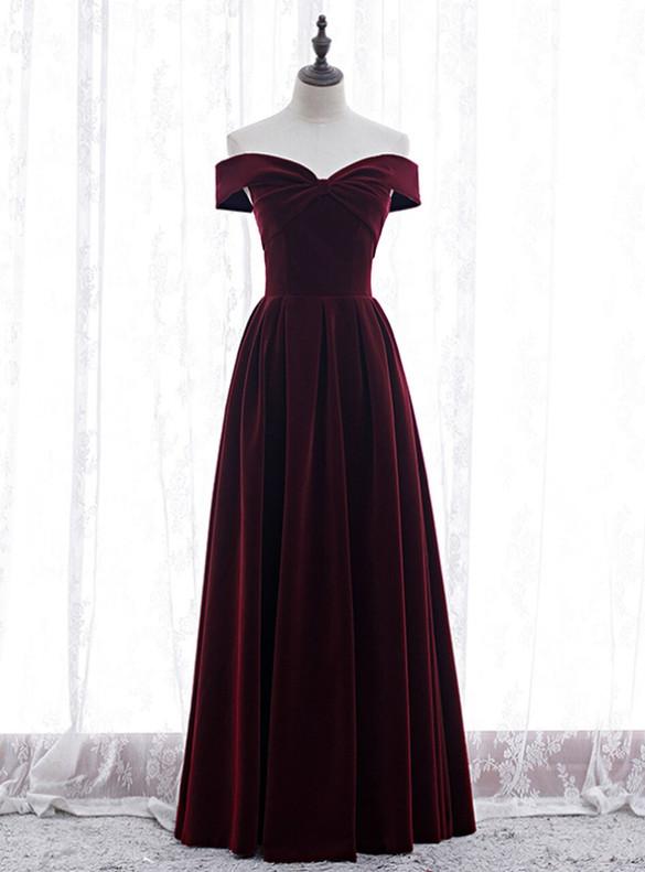 Dark Burgundy Velvet Off the Shoulder Prom Dress