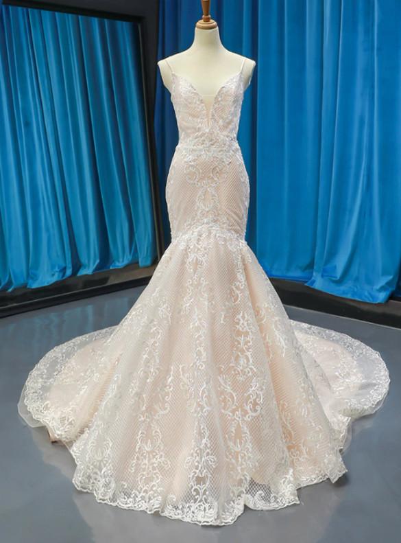 Mermaid Tulle Appliques Spaghetti Straps Wedding Dress