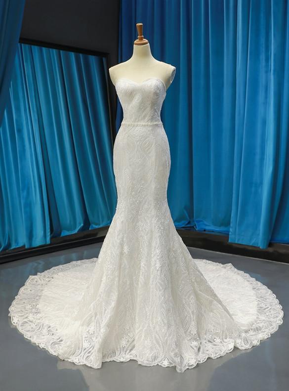 White Lace Mermaid Pearls Wedding Dress
