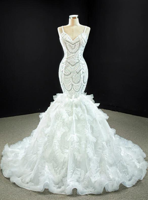 White Mermaid Tulle Spaghetti Straps Wedding Dress