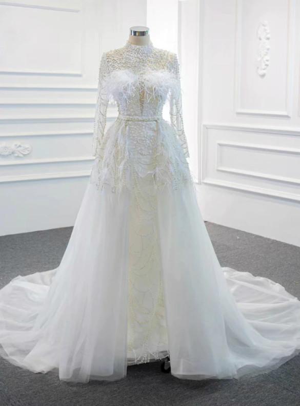 White Mermaid Tulle Long Sleeve Backless Pearls Wedding Dress