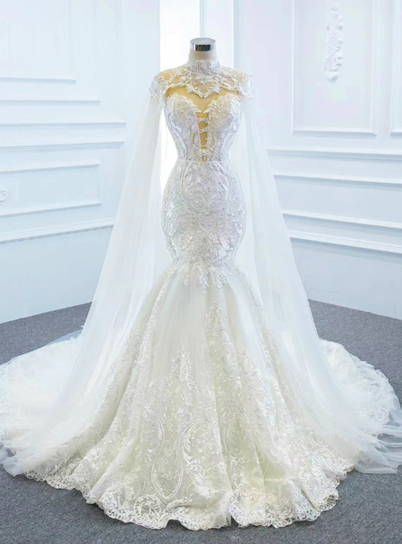 White Mermaid Tulle Lace Wedding Dress With Shawl