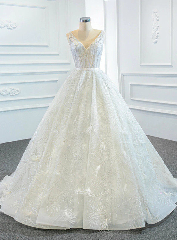 White Sequins V-neck Beading Wedding Dress