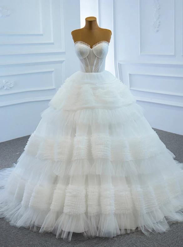 Sexy White tulle Sweetheart Pleats Wedding Dress