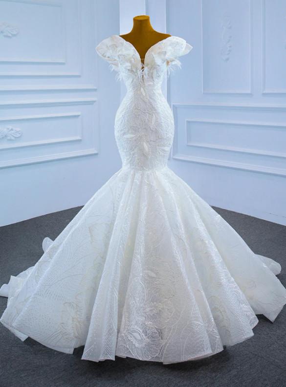 White Mermaid Tulle Beading Embrodiery Wedding Dress