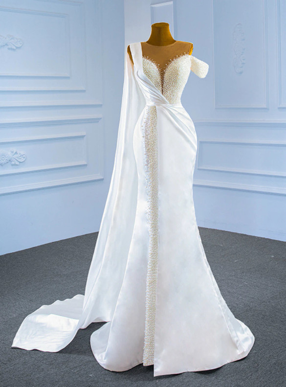 Luxury White Mermaid Satin Pearls Wedding Dress