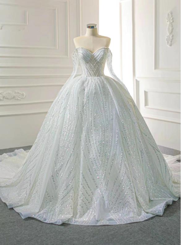 Luxury Ball Gown Tulle Beading Wedding Dress
