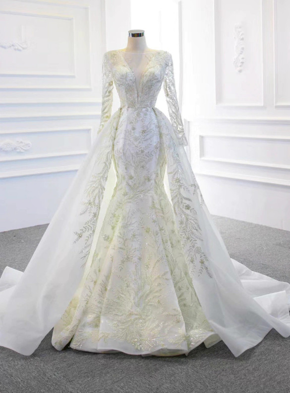 White Mermaid Sequins Beading Long Sleeve Wedding Dress With Removable Train
