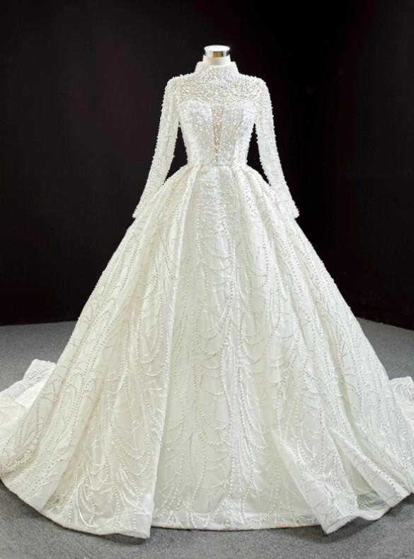 White High neck Backless Long Sleeve Pearls Wedding Dress