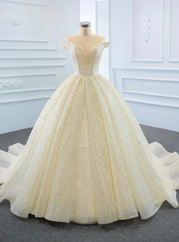 Champagne Tulle Lace Off the Shoulder Wedding Dress