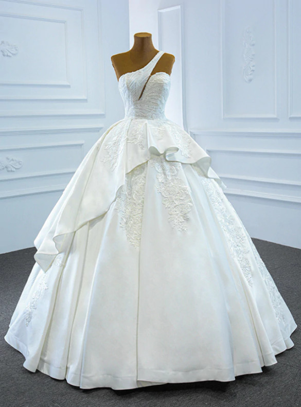White Satin One Shoulder Appliques Beading Wedding Dress