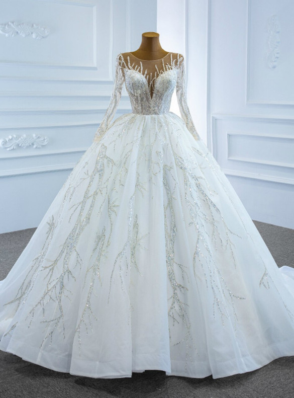 White Illusion Tulle Sequins Long Sleeve Wedding Dress