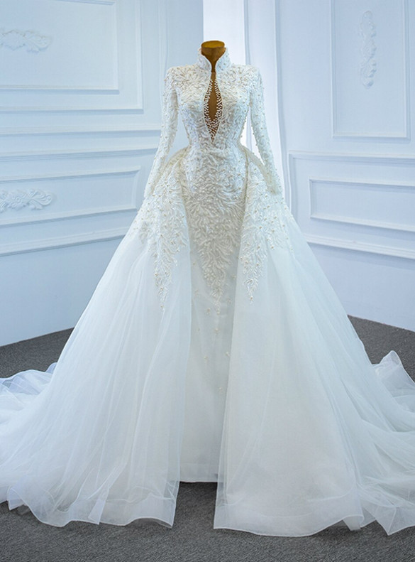 White Mermaid Tulle Appliques Beading Long Sleeve Wedding Dress