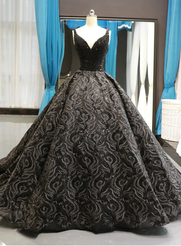 Black Ball Gown Sequins Appliques V-neck Beading Prom Dress