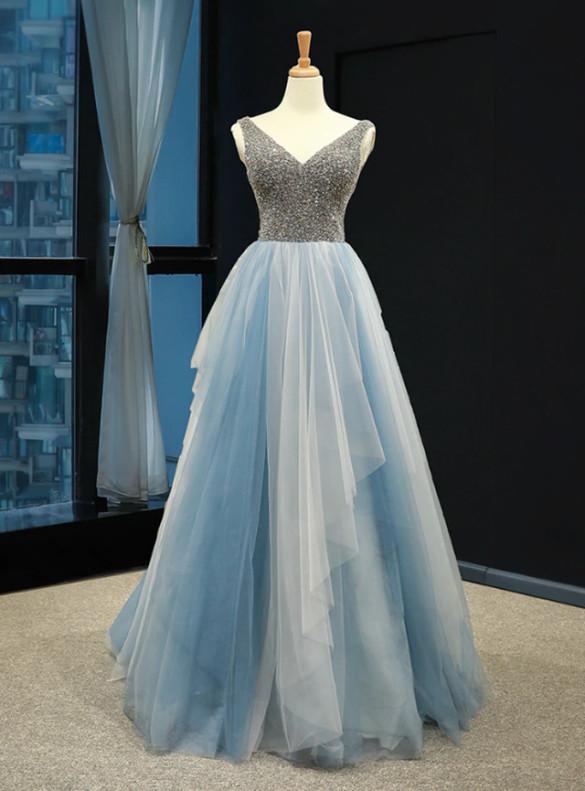 Blue Gray Tulle V-neck Backless Beading Prom Dress