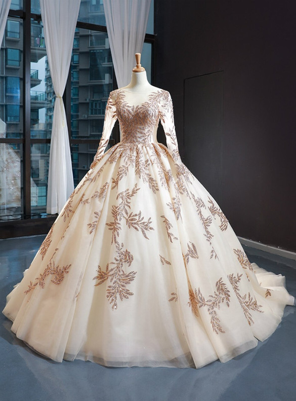 Gold Ball Gown Tulle Sequins Appliques Long Sleeve Prom Dress