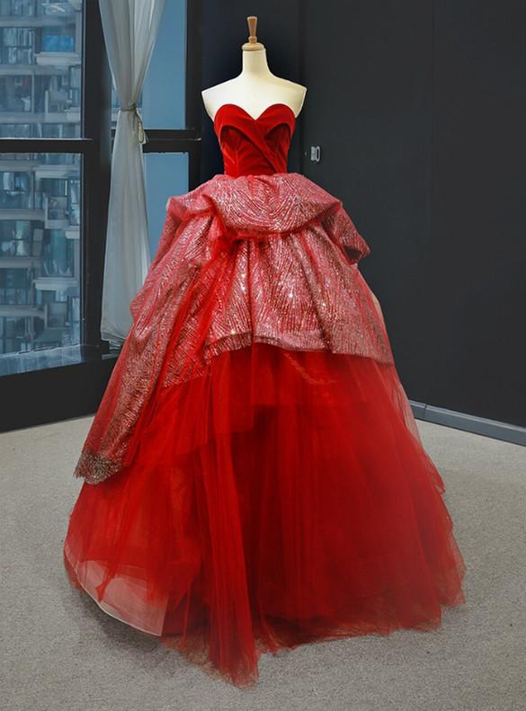 Burugndy Velvet Tulle Sequins Strapless Prom Dress
