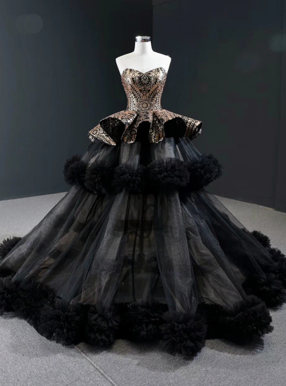 Black Ball Gown Tulle Gold Sequins Sweetheart Prom Dress