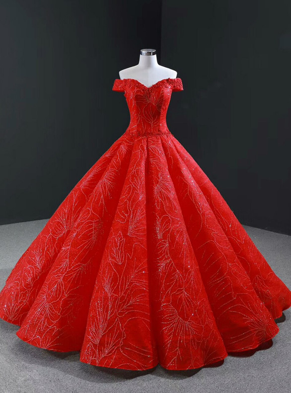 Red Sequins Tulle Off the Shoulder Beading Prom Dress